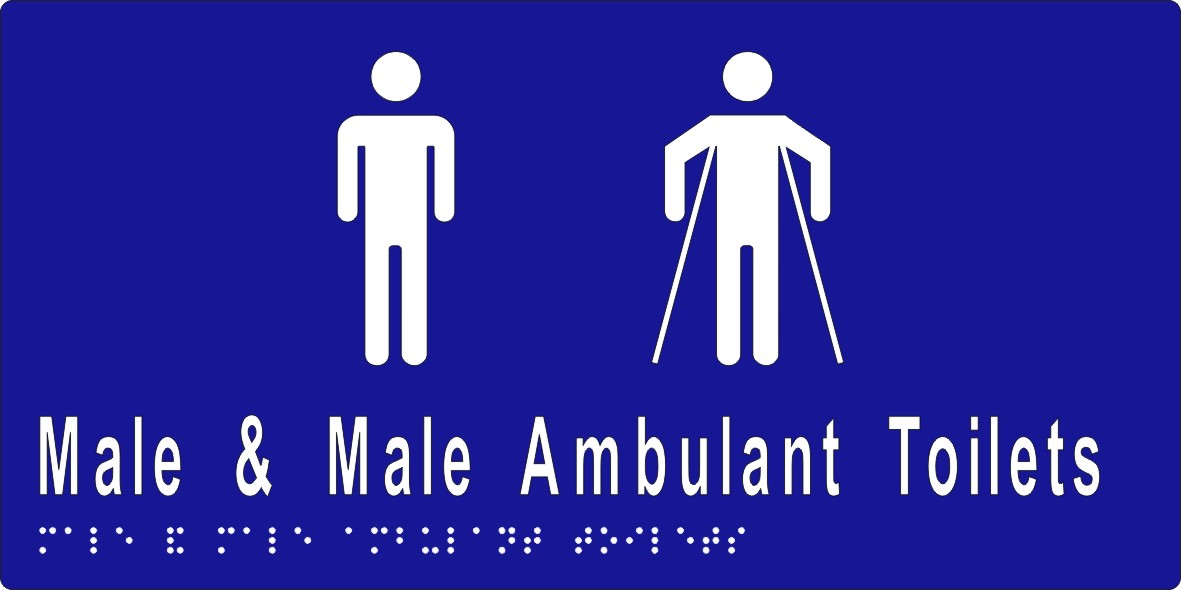Male Sign, Male and Male Ambulant Toilet 260x150 BRAILLE